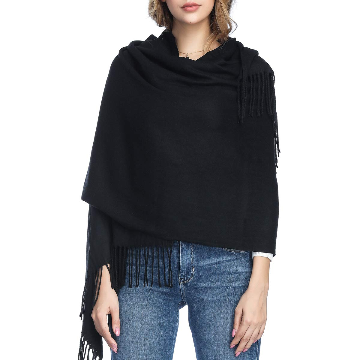 Extra Large Thick Soft Cashmere Wool Shawl Wraps for Women - PoilTreeWing Pashmina Scarf(Black)