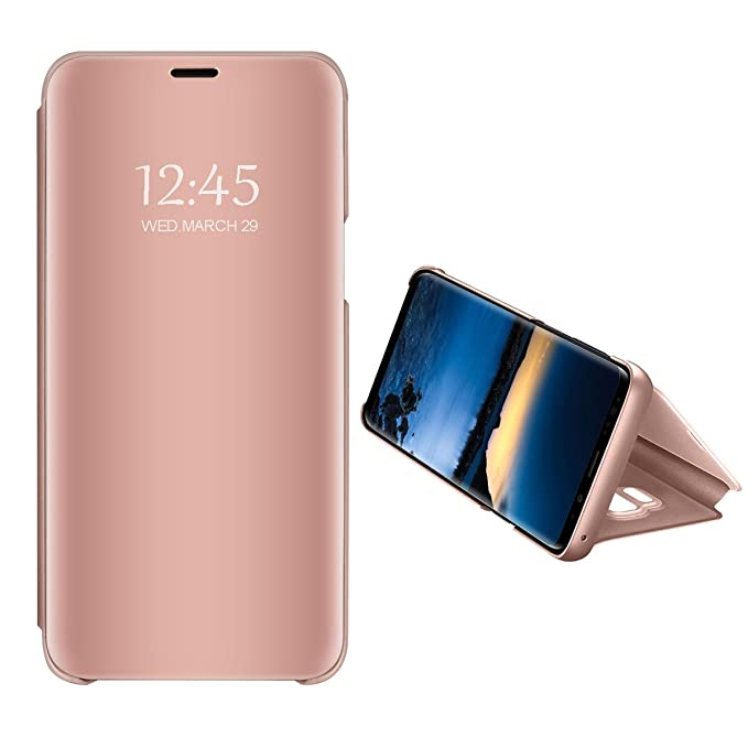 Case Compatible with Samsung Galaxy S10 Plus Ultra Slim Clear View Vertical Flip Standing Kickstand Mirror Hard PC Protective Cover for Samsung Galaxy ...