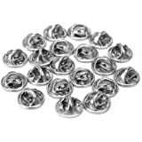 ReFaXi 20 Pcs Silver Comfort Fit Butterfly Clutch Metal Pin Backs Replacement