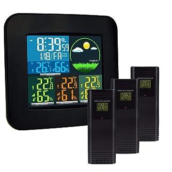AFGD Termómetro Digital Termómetro Digital E Higrómetro con Sensor Inalámbrico Y Despertador.