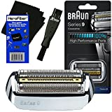 Braun Series 9 Parts - Braun 92S Series 9 Foil & Cutter Replacement Head for 9075, 9080, 9090, 9093, 9095, 9240, 9242, 9250, 9260, 9280, 9290, 9291, 9292, 9293, 9295, 9296, 9297, 9299 Shavers + Shaver Brush + HeroFiber