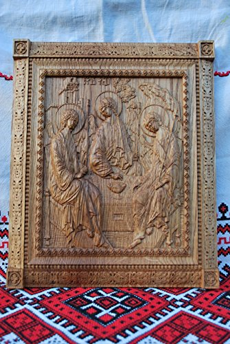 Holy Trinity Icon personalized religious gift Wood Carved religious wall plaque FREE ENGRAVING FREE SHIPPING by Woodenicons Artworkshop ''Tree of life'' (Image #2)