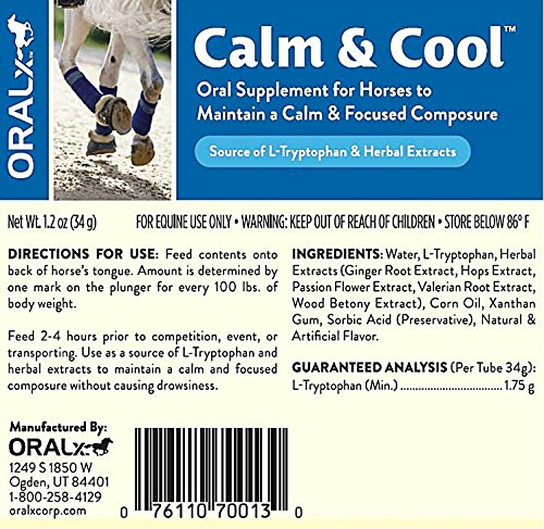 Oralx Calm and Cool for Horses. Cost-Saver 3-Pac. Made with L-Tryptophan & Herbal Extracts to Help Maintain Calm, Focused Composure During Events & Transport. Three Easy-Dose Syringes,1.2 OZ (34g) ea.