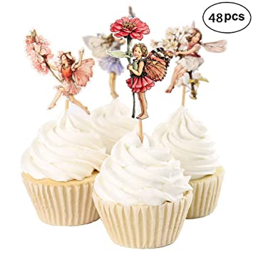 48 Pack Pretty Fairy Cupcake Toppers For Birthday Party Supplies