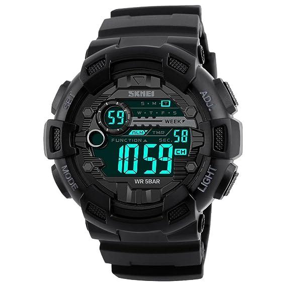 58949c5bc500 TONSHEN Digitales Relojes de Pulsera de Hombre Impermeable 50M Resistente  Agua LED Outdoor Deportivos Militares Táctica Plástico Reloj 12H 24H Doble  Tiempo ...