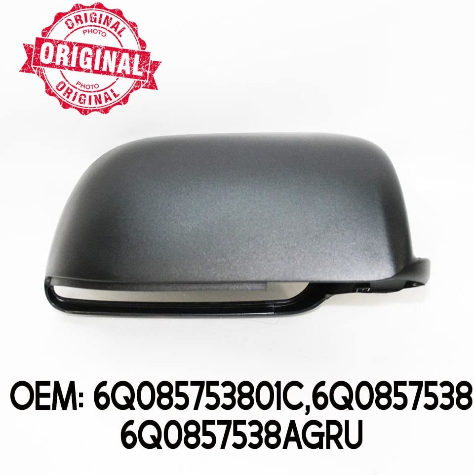 Right Side Wing Mirror Cover Cap Casing Black Compatible With Polo 2002-2005 OEM 6Q085753801C 6Q0857538 6Q0857538AGRU