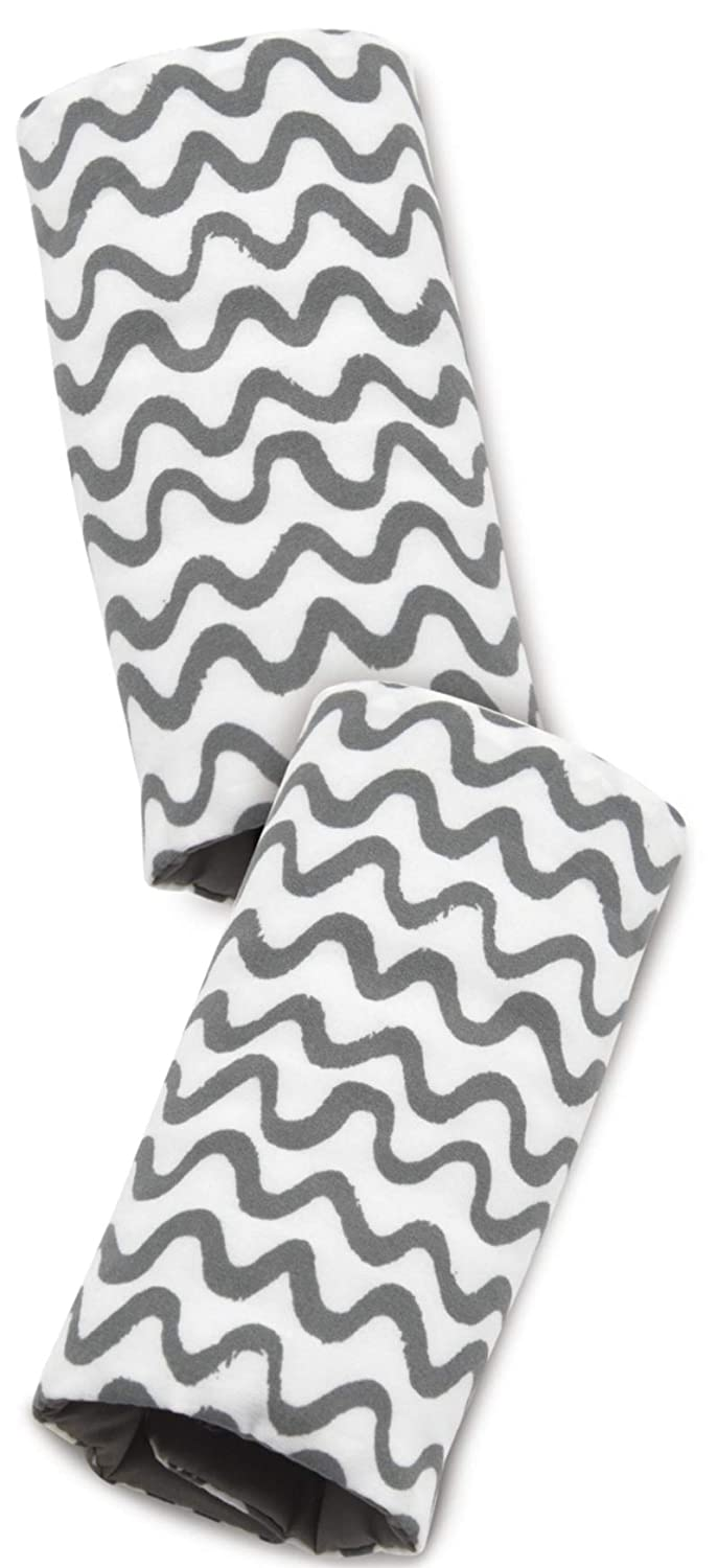 On the Goldbug Car Seat Strap Cover Grey Squiggle