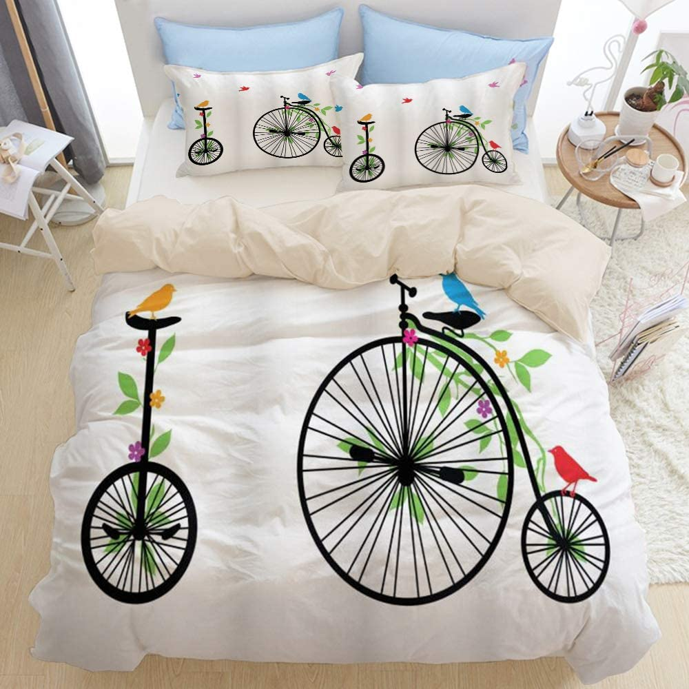 Mokale Decor Bicycle Flying Birds and Flowers On Old Single Wheel Bikes Happiness and Joy Pedals Graphic 3pcs Bedding Duvet Cover Set with 2 Pollow Shams for Home Hotel Dorm,Beige Reversible,Full