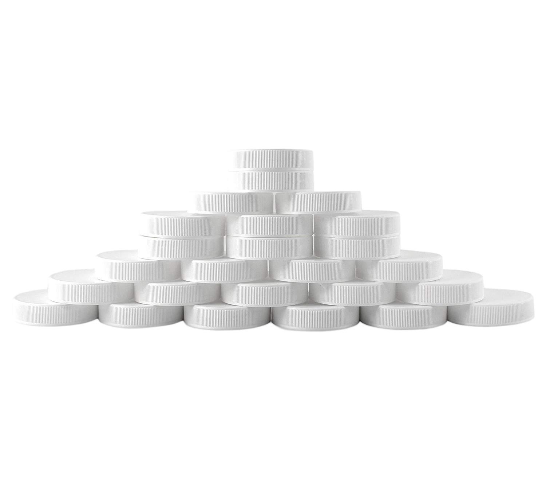 Regular Mouth Plastic Mason Jar Lids, Unlined (24-Pack); Standard Size 70-450 White Plastic Caps for Mason Jars