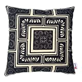 Monkeysell .Black and Beige Stripe Vintage Style Geometric patterns Contracted style Cotton Linen Sofa Home Decor Design Throw Pillow Case Cushion Covers Square 18 Inch (C)