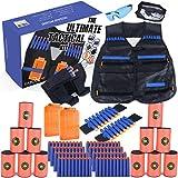 KABOOCHY Kids Ultimate Tactical Vest 100 Piece Value Kit for N-Strike Elite Nerf, with Tactical Vest, Holster Belt, 2 Wrist Bands, 2 Quick Reloads,12 Target Cans, Mask, Glasses & 80 Refill Darts