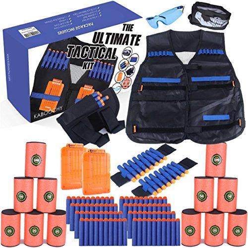 KABOOCHY Kids Ultimate Tactical Vest 100 Piece Value Kit for N-Strike Elite Nerf, with Tactical Vest, Holster Belt, 2 Wrist Bands, 2 Quick Reloads,12 Target Cans, Mask, Glasses & 80 (100 Piece Value Pack)