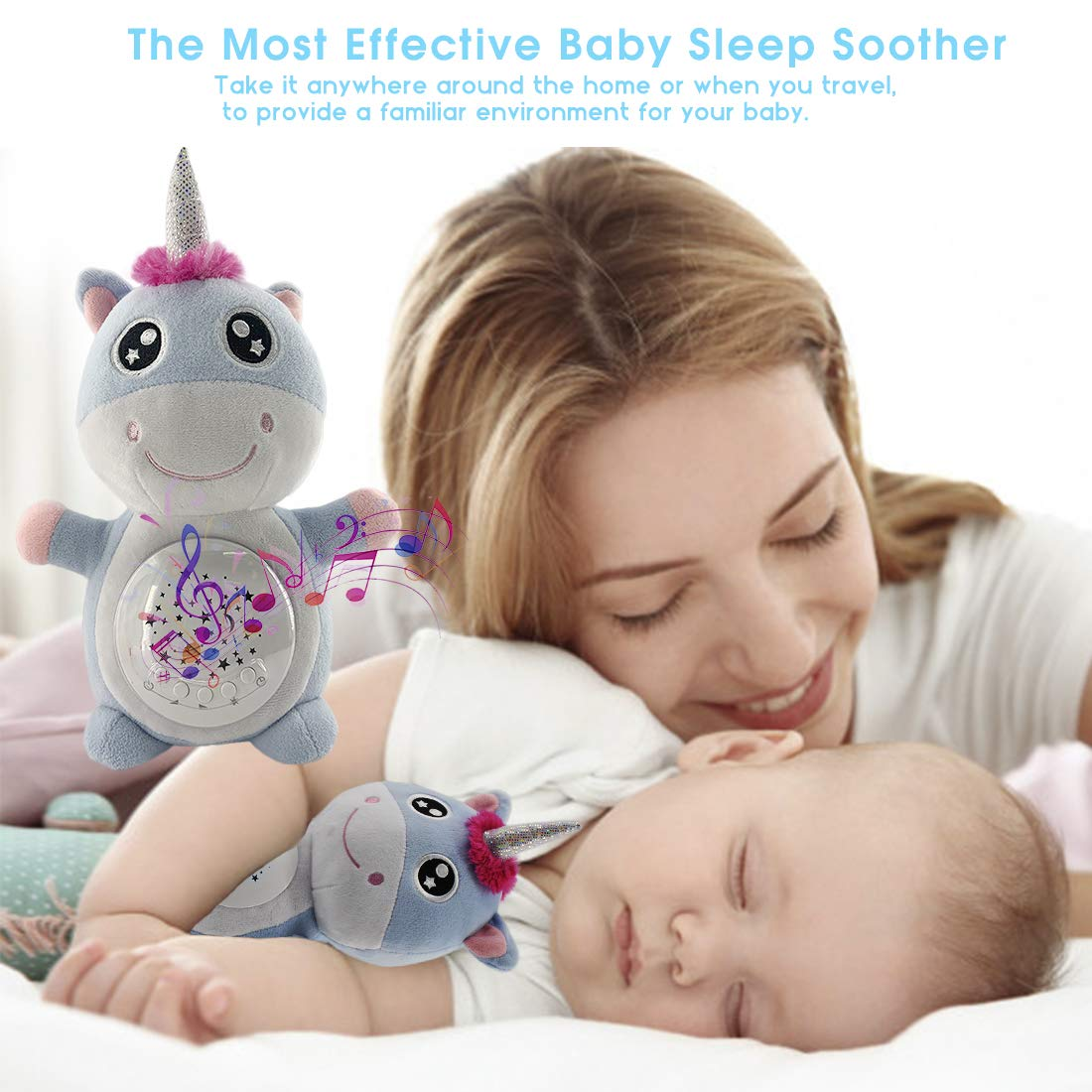 Kids Toddlers Blue Nursery Night Light Projector Portable Soother Crib /& Stroller Attachable Sleep Aid for Babies Unicorns Baby White Noise Machine