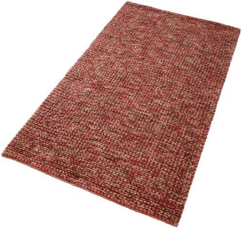 PuRo Lifestyle NFT-104600-120 Teppich Pebbles, 120 x 180 cm, 100% Jute im Flor, 3 kg/qm, rot