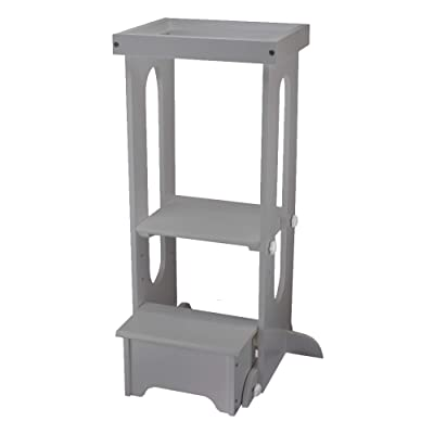 Little Partners Explore n Store Learning Tower Kids Adjustable Height Kitchen Step Stool for Toddlers or Any Little Helper (Silver Drop): Kitchen & Dining