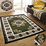 LA Rug Linens Colorful Chocolate Green Modern Contemporary Abstract Designer Hand Tufted 8×10 Bedroom Living Room Indoor Outdoor Rug Throw .5 Inch Thin Pile Height (Royal 102 Chocolate Green)