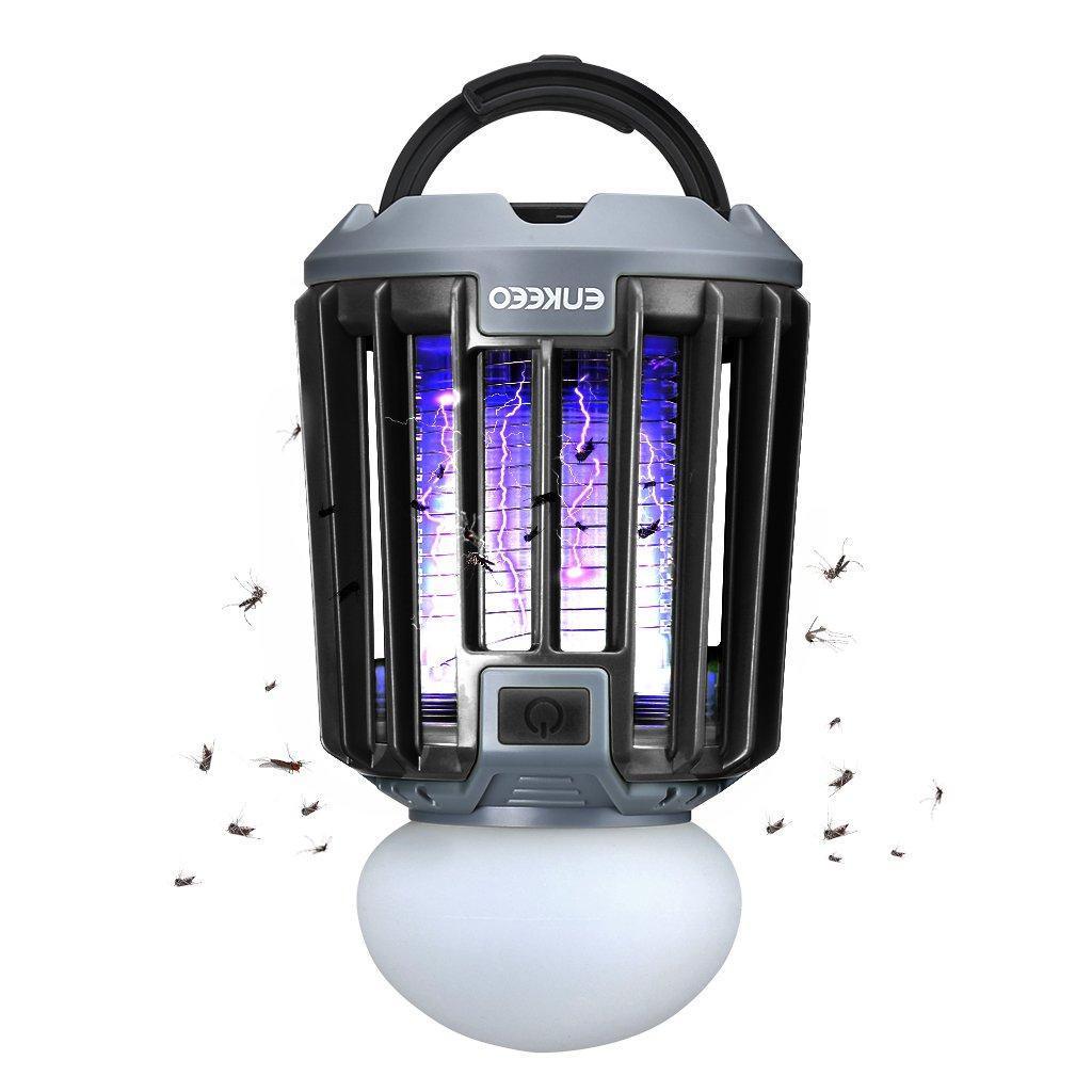 ENKEEO 2-in-1 Camping Lantern Mosquito Killer LED Tent Light Bug Zapper, IPX6 Waterproof, 2000mAh Battery, Black