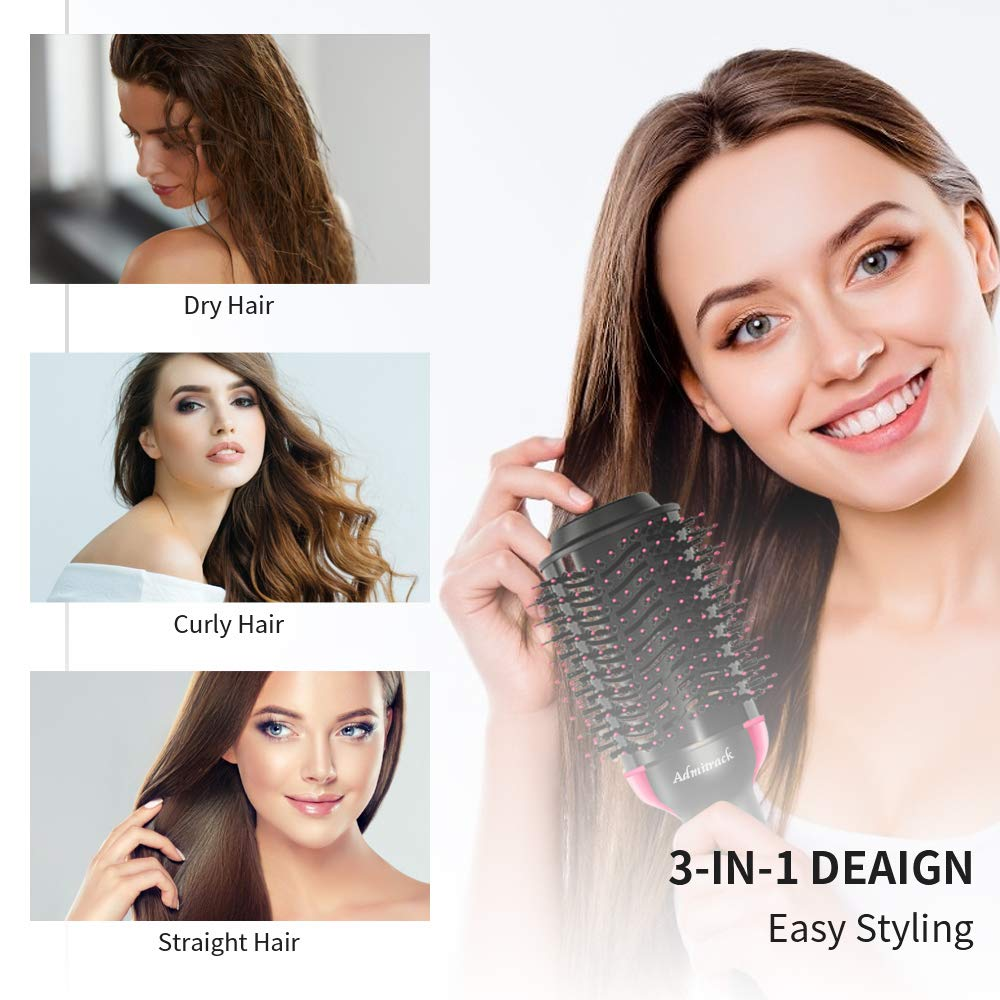 One Step Hair Dryer Volumizer, Admitrack Hot Air Brush 3-IN-1 Negative Ions Hair Dryer, Curler and Straightener for All Hair Types rose