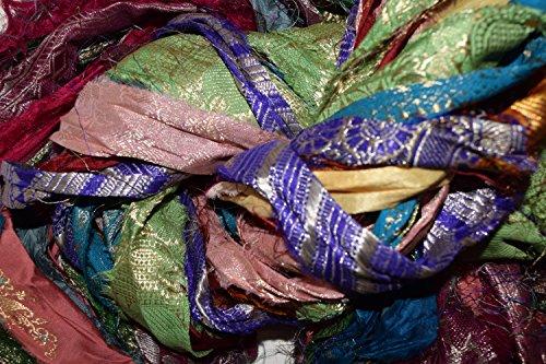 Zari Border Sari Silk 100g Ribbon Yarn -recycled Sari Silk Ribbon Yarn with Lurex
