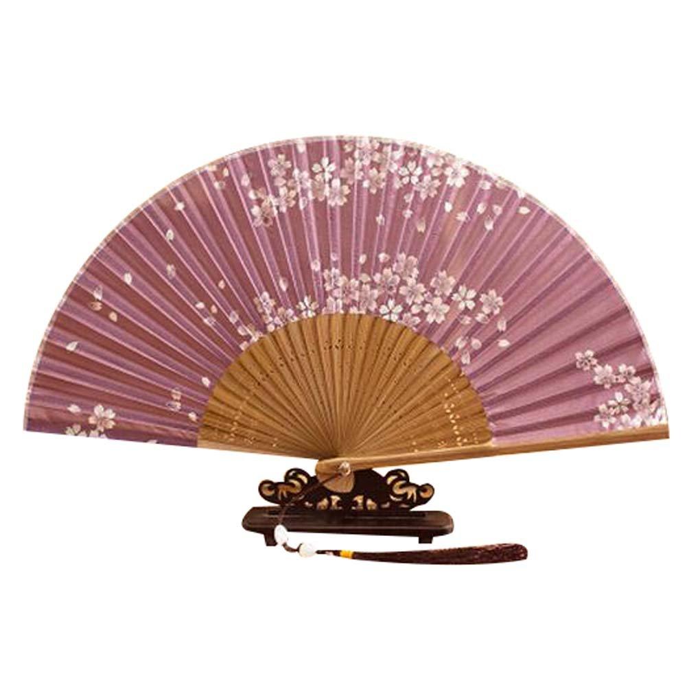 Panda Superstore Hand Held Fan Silk Handmade Fan 8.27''(21cm) Portable Folding Hand Fan
