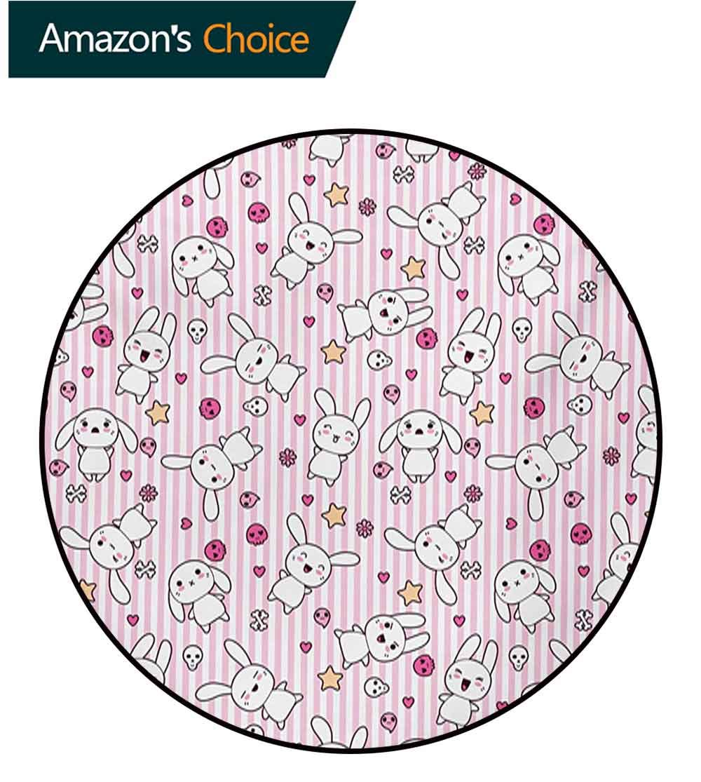 Doodle Round Area Rugs Super Soft Living Room,Loveable Bunnies Numerous Facial Expressions Smiling Winking Sleeping Determined Bedroom Home Shaggy Carpet,Diameter-51 Inch Pink Baby Pink