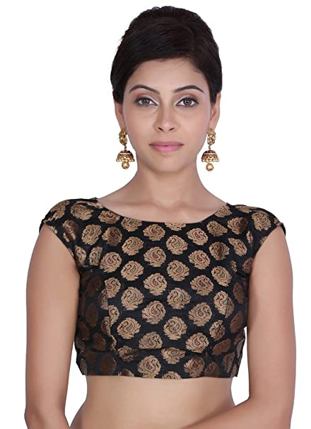 Jaipur Kala Kendra Mujer Negro brocado bordado boda novia Saree Blusa Crop Top jkkcbl19