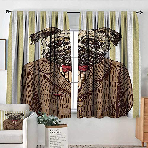 (Theresa Dewey Print Pattern Curtains Pug,Hand Drawn Sketch of Smart Dressed Dog Jacket Shirt Bow Suit Striped Background, Brown Pale Brown,for Room Darkening Panels for Living Room, Bedroom 42