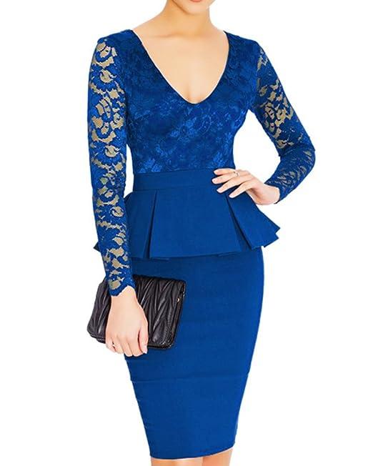 ZiXing Mujer Cordón Manga Larga Vestido de Lápiz Cuello Redondo Traje Cóctel Falda Azul Brillante 2XL