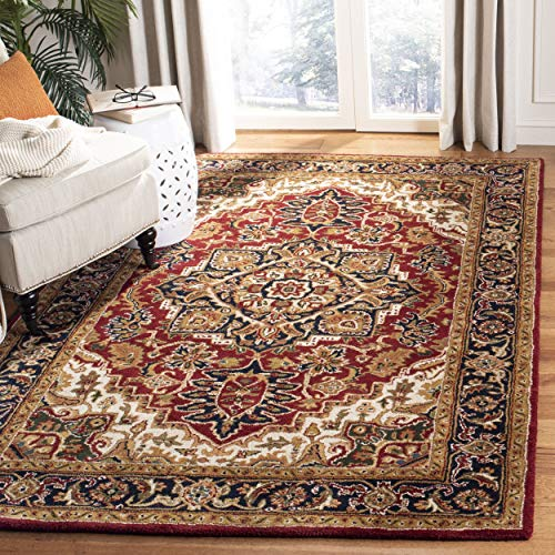 - Safavieh Classic Collection CL763B Handmade Traditional Oriental Red and Navy Wool Area Rug (8'3