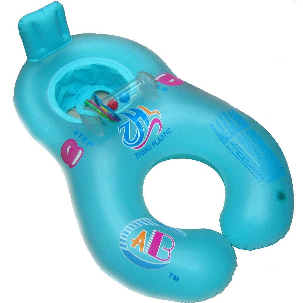 Transer Swim Ring Inflatable Mother Baby Soft Swim Float Raft Kid's Chair Seat Swim Ring Pool (Blue)