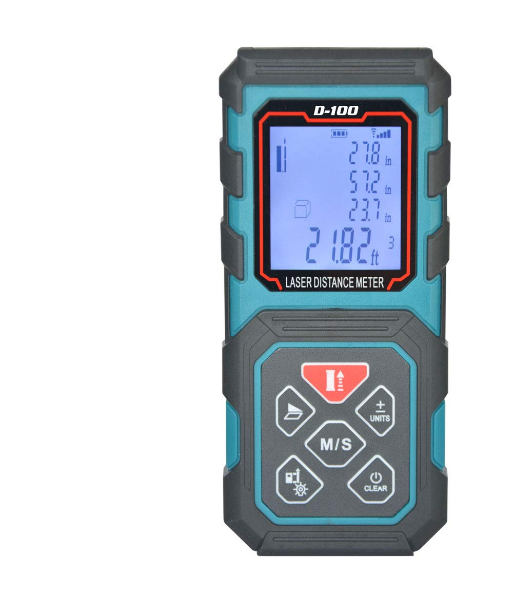 Laser Distance Meters Backlit LCD KAIWEETS 196ft//60M Laser Measure with Mute Function Distance Area and Volume Measuring Carry case and Hand Strap Included for Pythagorean