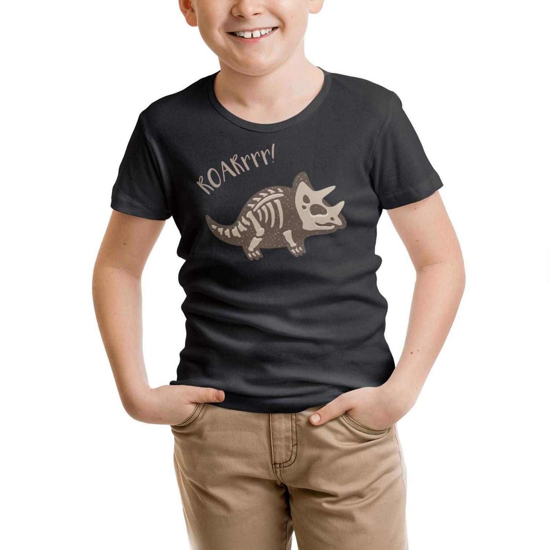 Cartoon Triceratops Dinosaur Fossil Black Little Girls T-Shirts Cotton Heather Short Sleeve