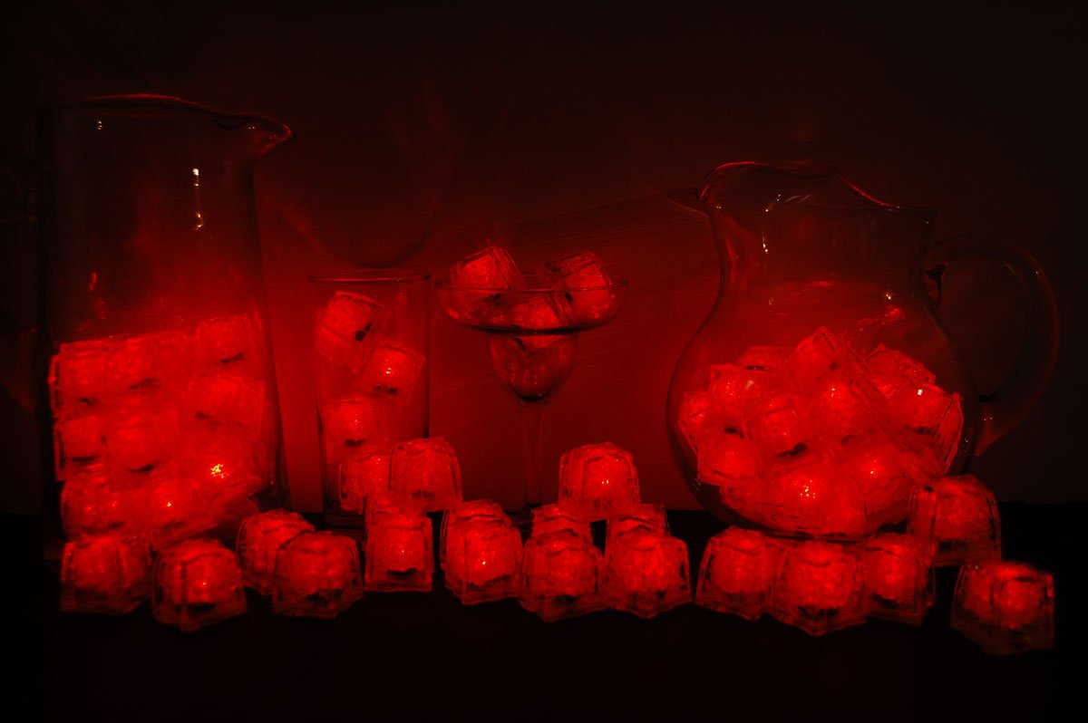 Set of 72 Litecubes Brand 3 Mode Red Light up LED Ice Cubes