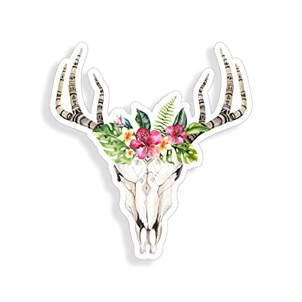 190f4d0b92075c Amazon.com  Bohemian Boho Cow Skull Antler Flower Taurus Sticker cup laptop  car bouquet vinyl decal window bumper wall graphic  Everything Else