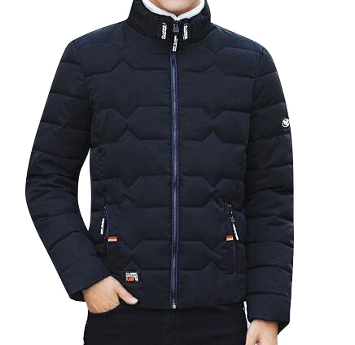 YYG-Men Winter Thicken Parka Stand Collar Quilted Down Coat Jacket Outerwear