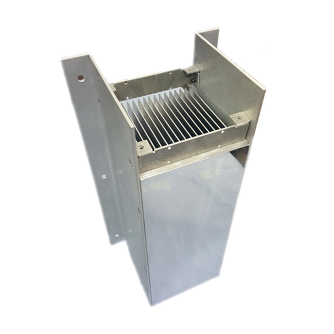 """16"""" inch Aluminum High Power Bonded Fin Heat Sink Assembly for Natural or Forced Air Convection – 16 Fin with Mounting Brackets"""