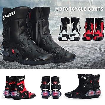 iBaste-ES Stivali da Moto in Pelle Scarpe Stivali da Moto PRO-Biker Speed Stivali da Moto Moto Racing Stivali da Moto Fuoristrada 40 Nero