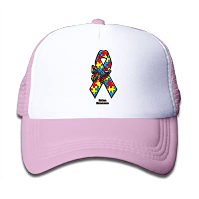 Lalamin Toddler Autism Awareness Ribbon Mesh Cap Adjustable Baseball Trucker Cap Caps Hats Hat for Girls