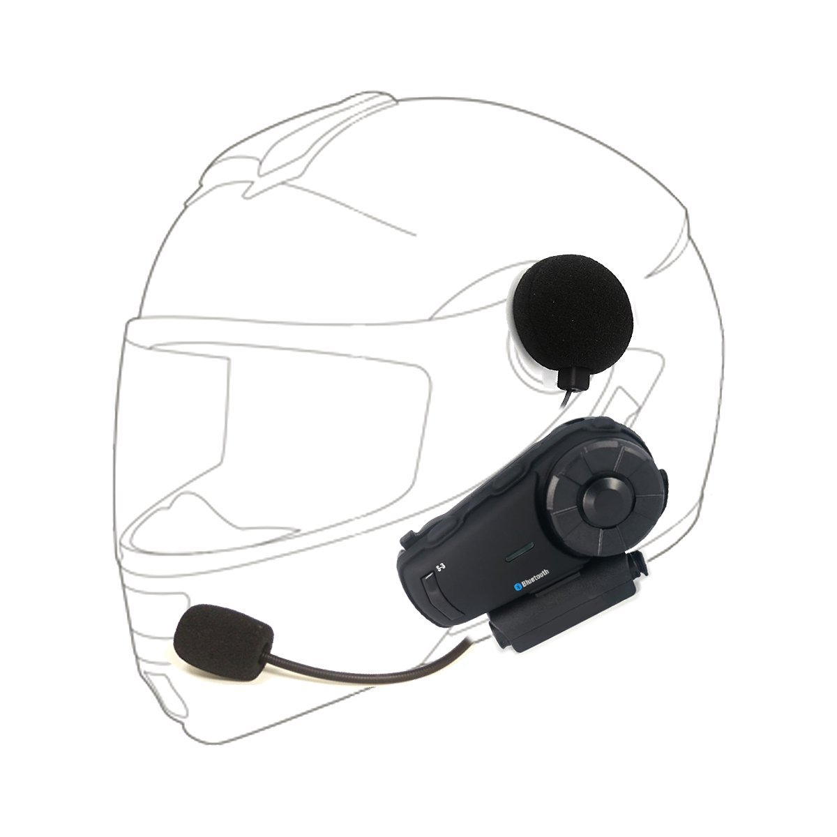 Sykik Rider SRS3 Bluetooth and extra long range intercom unit for up to 10 riders. One year Sykik Warranty. by Sykik