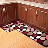 Ustide 2-Piece Colorful Cobblestone Kitchen Rug Set Bathroom Rug Sets ...