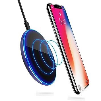 Cargador Inalámbrico Rápido, ikalula Qi Cargadores por inducción Seguro Anti-Deslizamiento Diseño Wireless Quick Charger para iPhone X/8/8 Plus, ...