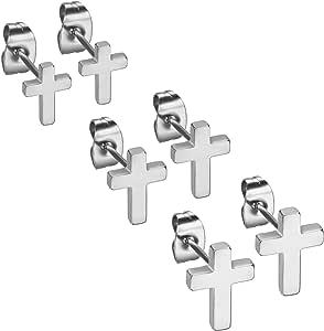 Flongo Pendientes de cruz aretes de acero inoxidable, Pendientes ...