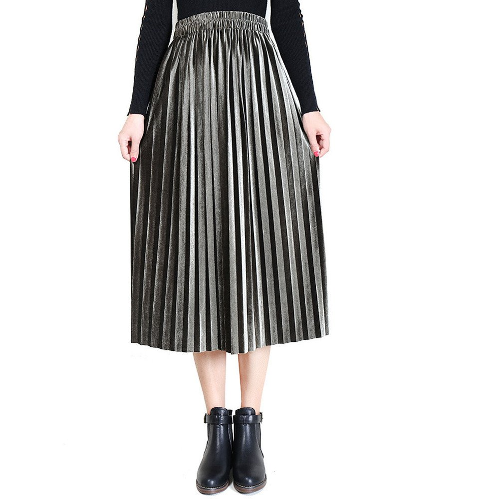 High Waisted Pleated Mid-Calf Skirt Solid Party Nightclub Casual Long Skirt MISYAA Womens Gold Velvet Midi Skirts