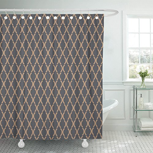 Curves Gold Link (TOMPOP Shower Curtain Navy Antique Pattern Blue Antiquity Arabesque Curve Geometric Gold Waterproof Polyester Fabric 72 x 72 Inches Set with Hooks)