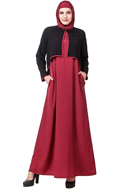 MyBatua Negro y Rosa Abaya hermosa musulmana vestido de noche de vestir Burqa AY-590