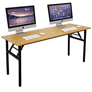 Need Computer Desk Office Desk 63 inches Folding Table with BIFMA Certification Computer Table Workstation No Install Needed, Teak AC5BB-160