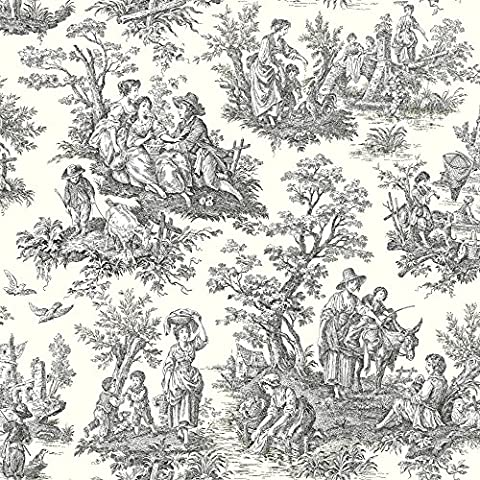 York Wallcoverings WA7828 Waverly Classics Country Life Wallpaper, White / Black (Wallpaper Country)