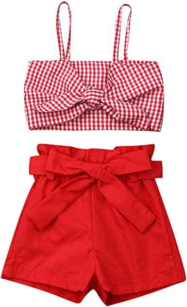 Toddler Kids Clothing Baby Girls Cute Letter Vest Tank Top+Plaid Short Pants 2Pcs Outfits Clothes Set