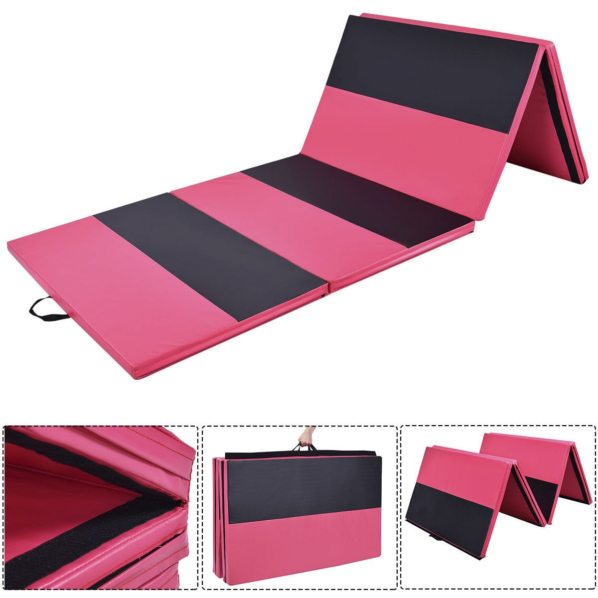 Pink & Black Stretching Yoga Folding Panel PU Leather Zipper Thick Exercise Mat by DTOFREE