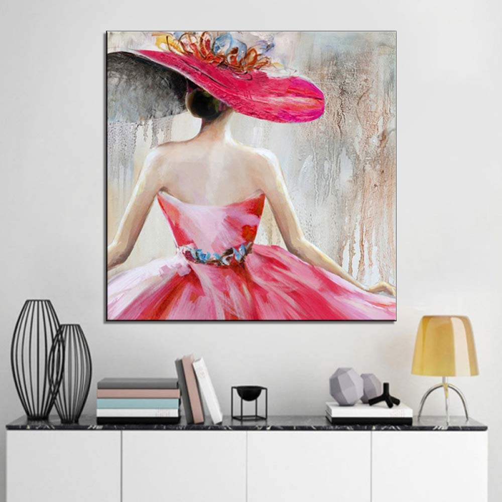 WSNDGWS Dibujado a Mano Moderna Obra de Arte Floral Abstracta ...